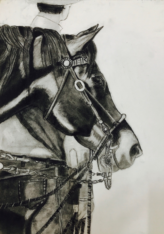 HORSE Charcoal Sketch art Pencil, art, charcoal, handmade, horse