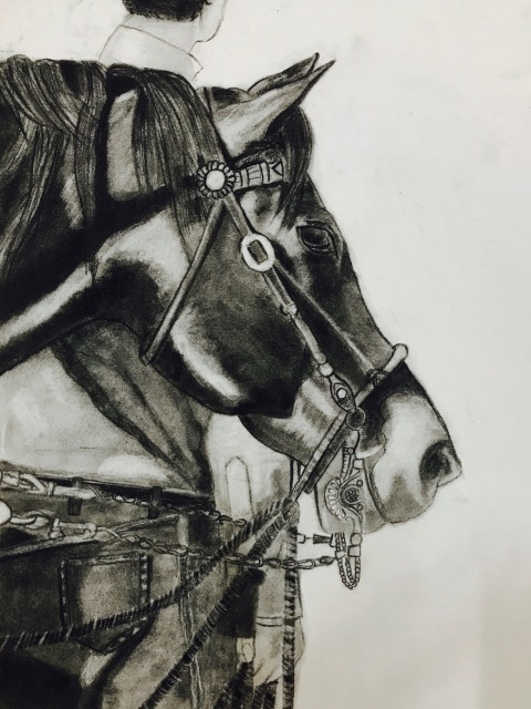 HORSE Charcoal Sketch art Pencil, art, charcoal, handmade, horse