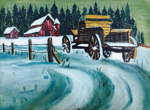 Oil painting nature snowy day snow oil on Paper , art, cart, handmade, snow