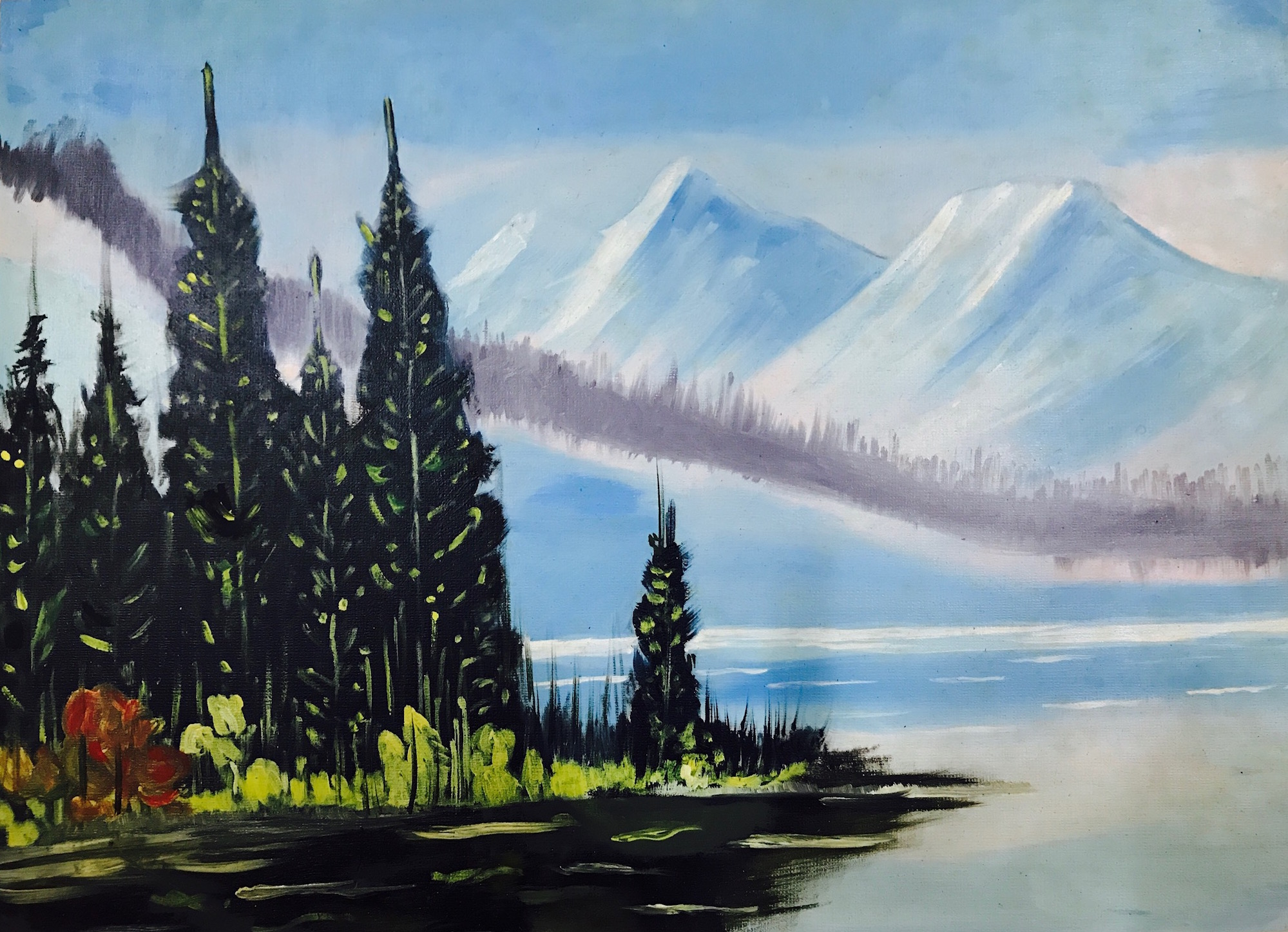 Oil painting nature white mountains snow oil on Paper , art, handmade, mountains, nature, snow, water, white