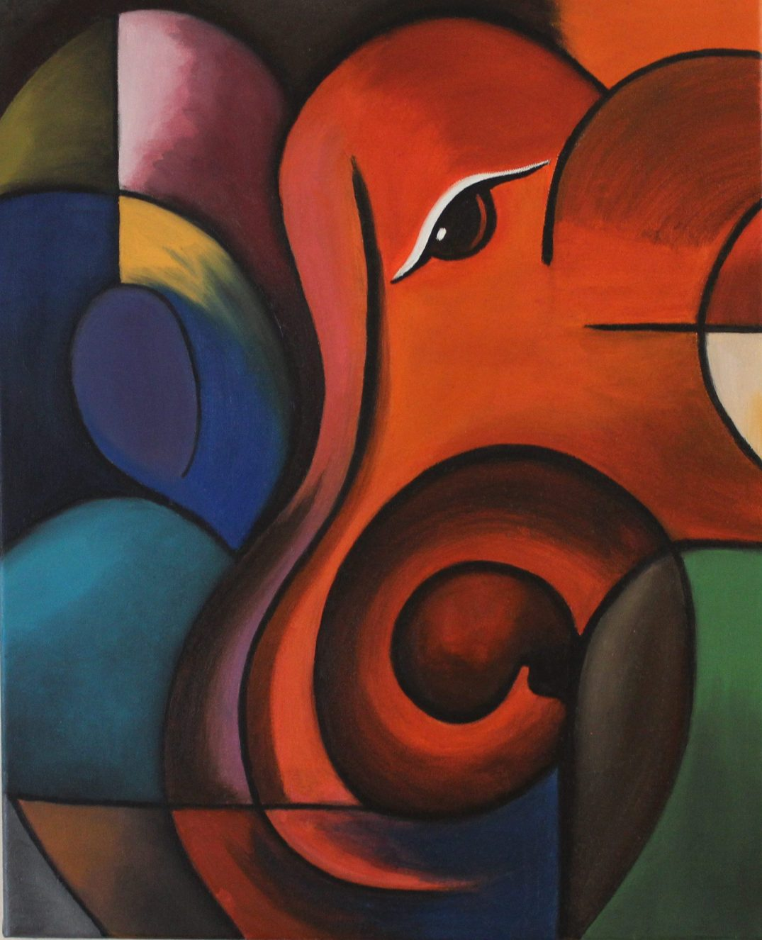 art, ganesha, handmade, indian god, abstract, oil painting, oil on canvas