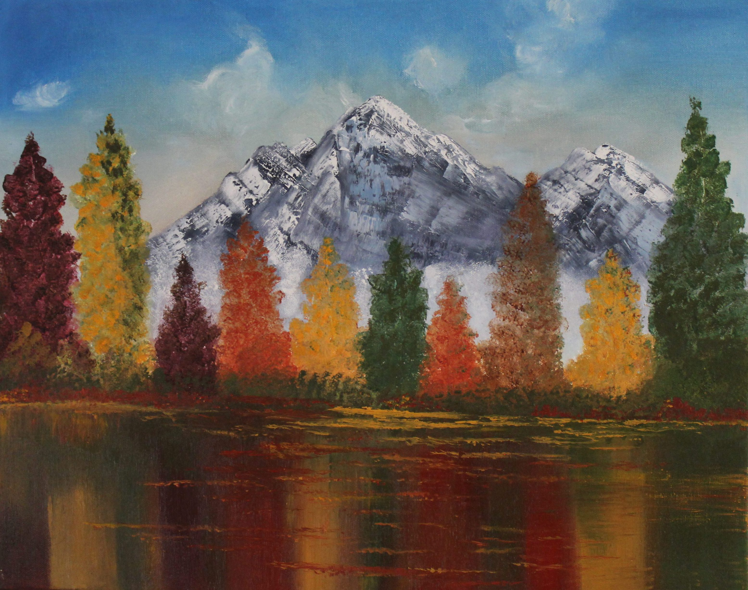 Oil painting, nature, autumn , art, autumn, colors, handmade, nature, oil on canvas