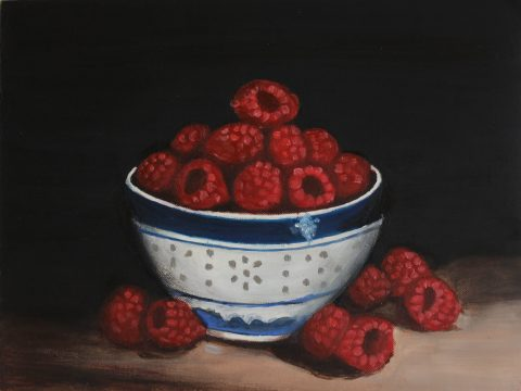 Raspberry bowl, still life, art, fruit, handmade, raspberry, oil painting, oil on paper