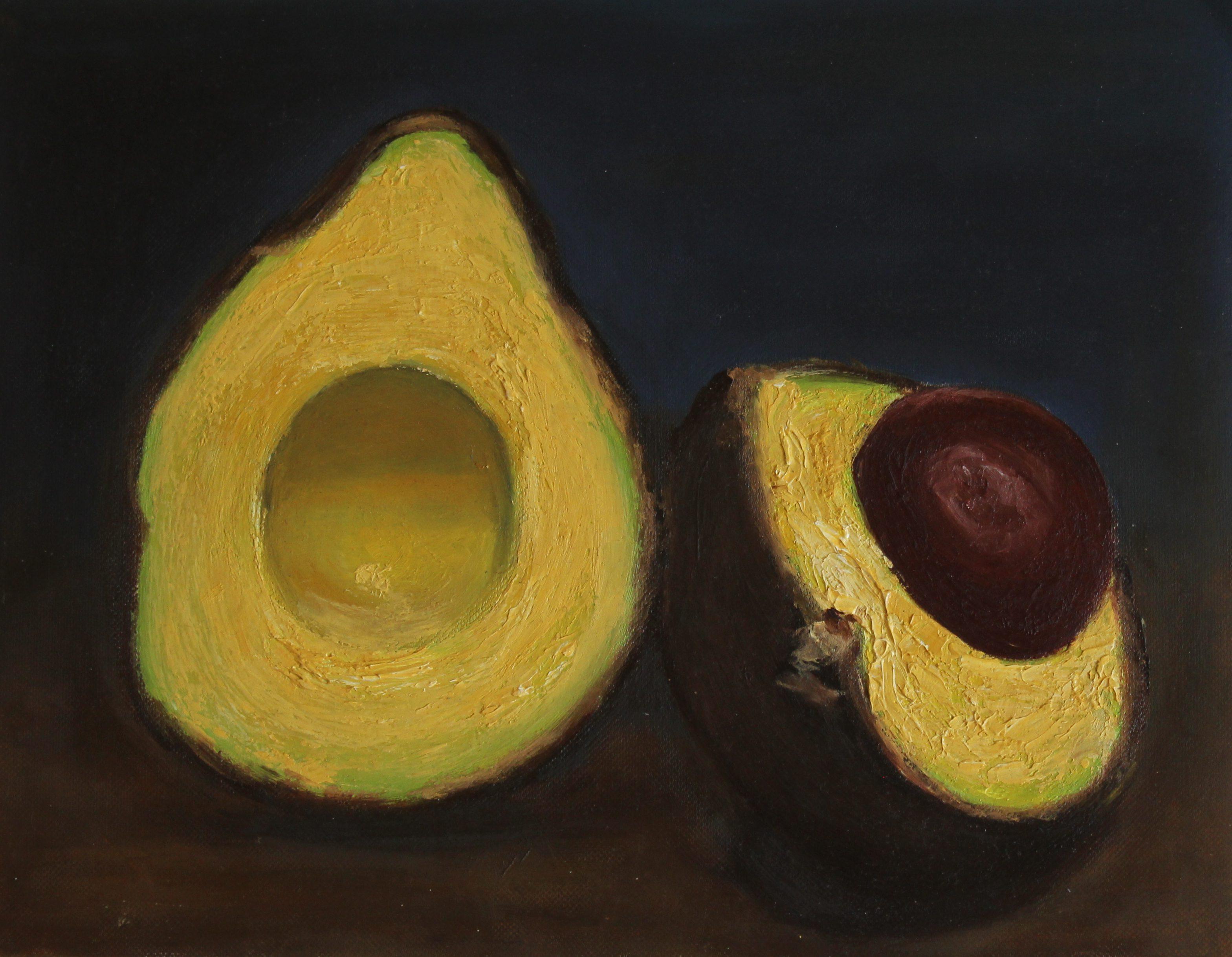Avocado oil painting , art, avocado, fruit, handmade, oil on paper