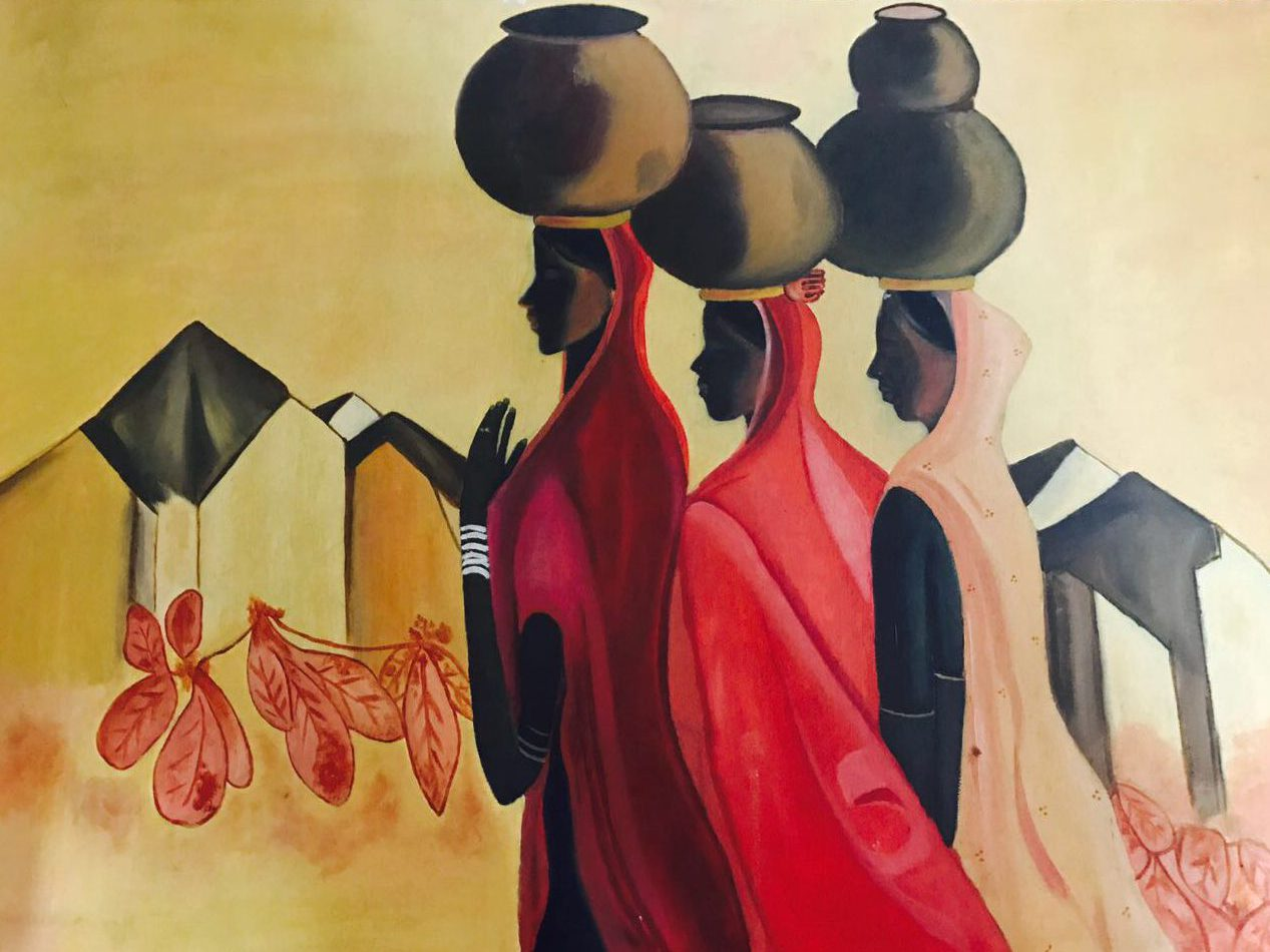 COUNTRY WOMEN oil painting figure water pot, art, handmade, lady, Village, Water Pot, Women, oil on canvas