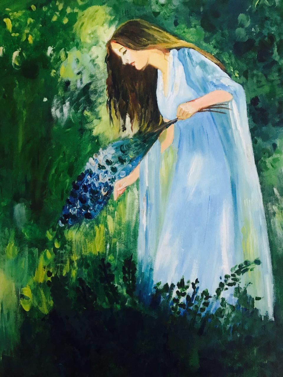 lady in a garden oil painting figure, portrait, art, garden, green, handmade, lady, oil on canvas