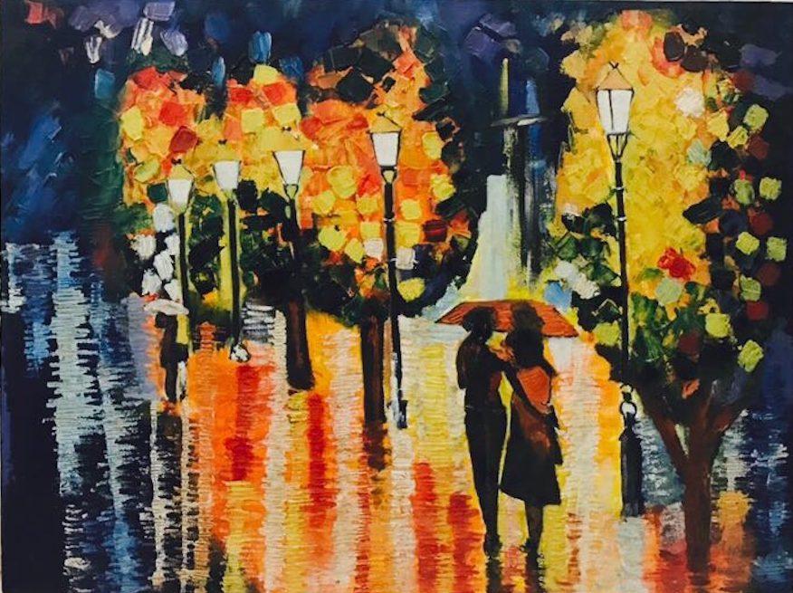 ROMANTIC MONSOON NIGHT palete knife oil on canvas, art, couple, handmade, lights, monsoon, romance, oil painting