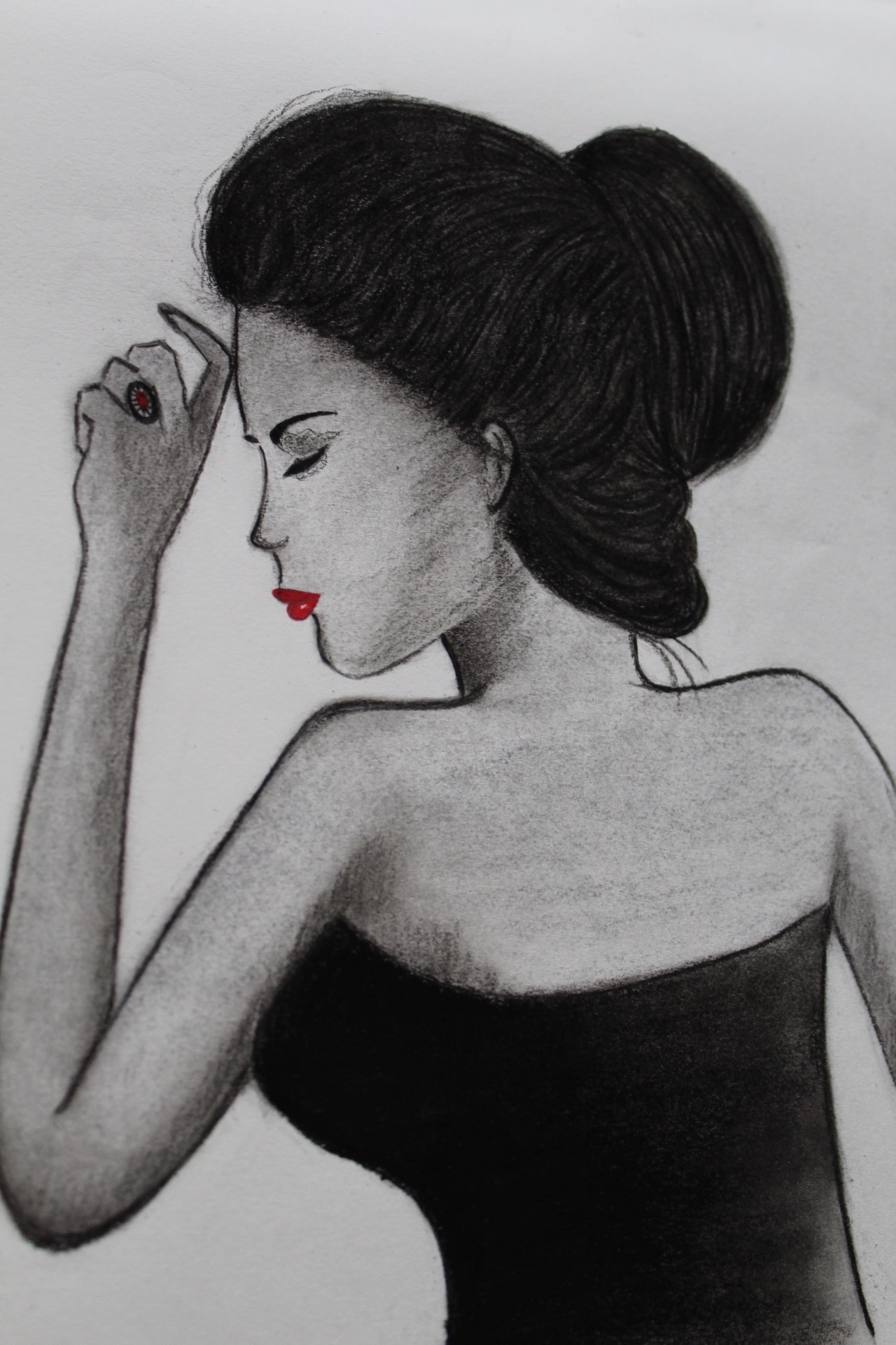 A GIRL Charcoal Sketch art Pencil, art, charcoal, handmade, girl